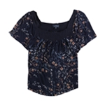 Lucky Brand Womens Floral Knit Blouse