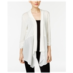 NY Collection Womens Chiffon Detail Cardigan Sweater