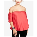 Rachel Roy Womens Solid Off the Shoulder Blouse
