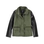 Ecko Unltd. Womens Twill W Pu Slv Military Jacket