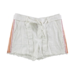 Trina Turk Womens Linen Blend Belted Casual Denim Shorts