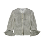 Tahari Womens Fringed Blazer Jacket