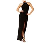 Teeze Me Womens Textured Glitter Maxi Sheath Dress