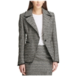 DKNY Womens Boucle One Button Blazer Jacket