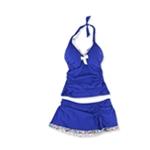 Profile Womens Trimmed Ruffle Underwire Skirt 2 Piece Tankini