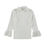 Ellen Tracy Womens Cloque Bell Sleeve Pullover Blouse