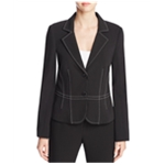 Finity Womens Topstitched Two Button Blazer Jacket