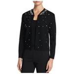 Finity Womens Solid Embellished Cardigan Sweater