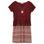 Speechless Girls Faux-Suede Knit A-line Dress
