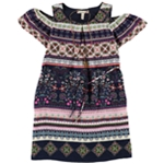 Speechless Girls Graphic Printed Cold Shoulder Dress