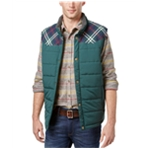 Weatherproof Mens Vintage Pieced Plaid Puffer Vest