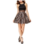 Teeze Me Womens Illusion Printed A-line Fit & Flare Dress