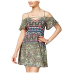 Teeze Me Womens Lace-Up Texture Fit & Flare Dress