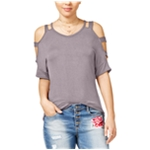 Hippie Rose Womens Caged Shoulders Basic T-Shirt