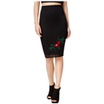 Glam Womens Floral Embroidered Mesh Pencil Skirt