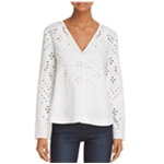 Theory Womens Relaxed Eyelet Pullover Blouse