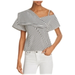 Theory Womens Striped Foldover Pullover Blouse
