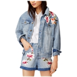 MinkPink Womens Patched Denim Jacket