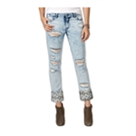 Rewash Womens Ripped Print-Cuff Slim Fit Jeans