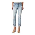 Rewash Womens Ripped Print-Cuff Slim Fit Jeans