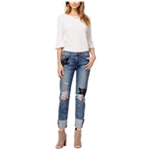 Joe's Womens Ripped & Embroidered Cuff Straight Leg Jeans