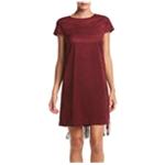 Kensie Womens Faux-Suede Fringe Sheath Dress