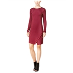 Kensie Womens Striped Envelope-Hem Sheath Dress