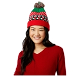Planet Gold Womens Candy Cane Lights Beanie Hat