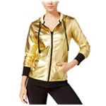 Material Girl Womens Metallic Hoodie Sweatshirt