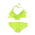 Raisins Womens Fringed Ruched Brief 2 Piece Bikini