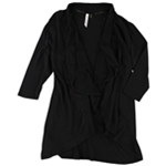 NY Collection Womens Draped Open-Front Cardigan Sweater