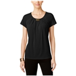 NY Collection Womens Pleated Basic T-Shirt