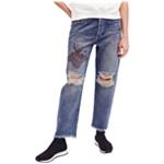 Free People Womens Ripped Boyfriend Fit Jeans
