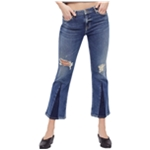 Free People Womens Colorblock Cropped Jeans