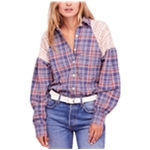 Free People Womens Fireside Nights Button Up Shirt