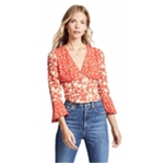 Free People Womens Floral Bohemian Crop Top Blouse