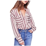 Free People Womens Striped Button Up Shirt