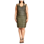 City Chic Womens Glitter Bodycon Dress