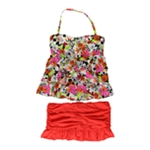 Island Escape Womens Floral Tiered 2 Piece Tankini
