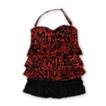 Island Escape Womens Print Tier Ruffled Skirt 2 Piece Bandeau