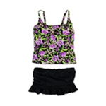 Island Escape Womens Floral Ruched Skirt 2 Piece Tankini