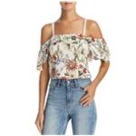 Parker Lifestyle Womens Floral Print Cold Shoulder Blouse