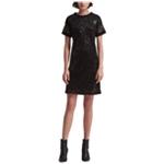 DKNY Womens Mesh Sequined Sheath Dress