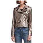 DKNY Womens Metallic Motorcycle Jacket