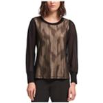 DKNY Womens Metallic Chiffon Pullover Blouse