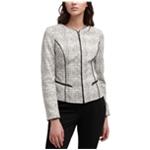 DKNY Womens Faux-Leather Trim Jacket