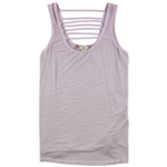 Pink Rose Womens Lattice neck and back Tank Top