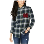 polly & esther Womens 82 Plaid Button Up Shirt