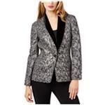 SB Womens Velvet Trim One Button Blazer Jacket