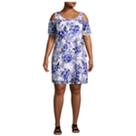 Robbie Bee Womens Cold Shoulder Floral Sheath Dress